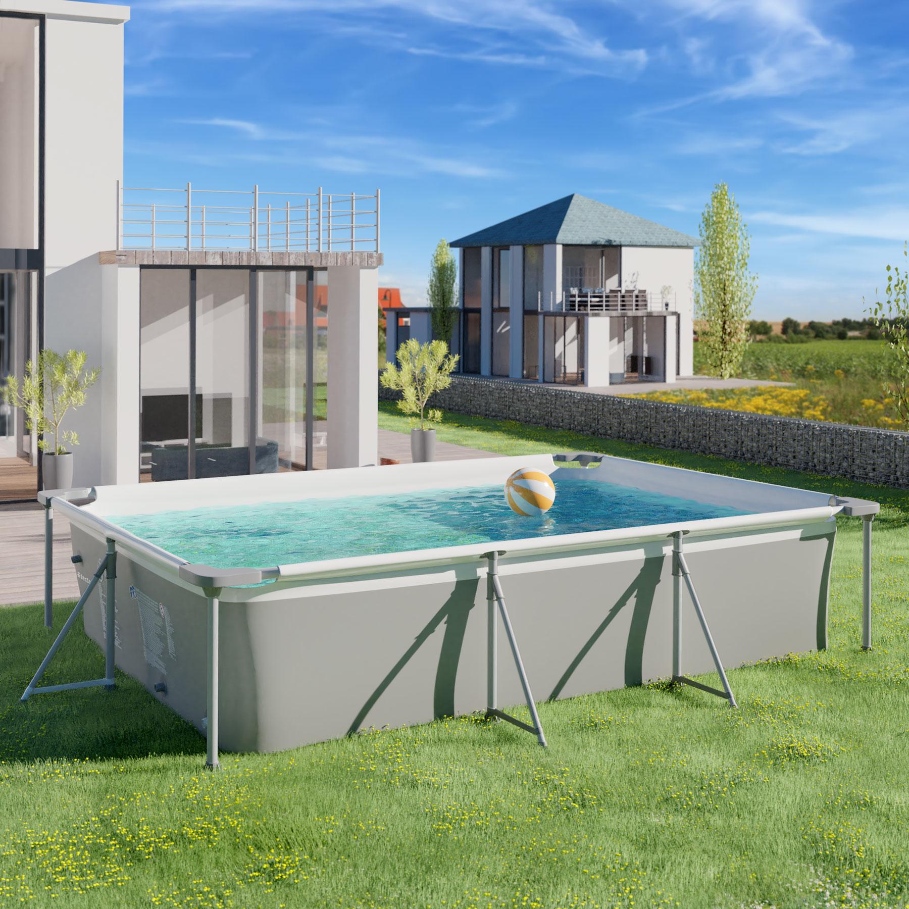 Swimming Pool Rectangular with Filter Pump 300x207x70cm Outdoor Garden Patio New