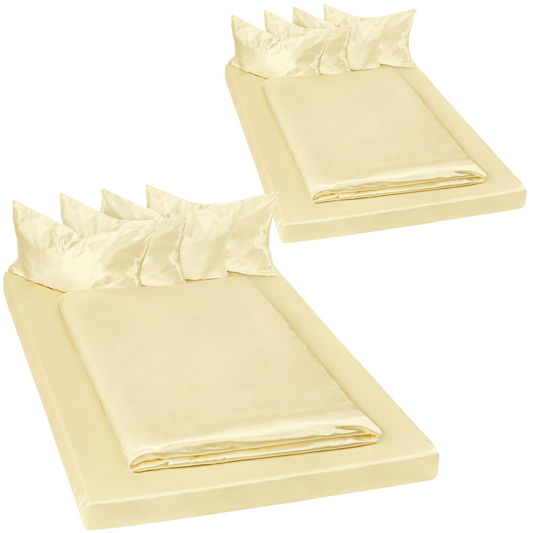 tectake 2 bäddset blank satin 200x150 cm 6-delars - gul